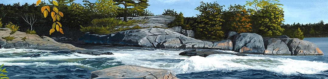 river painting northern ontario, muskoka